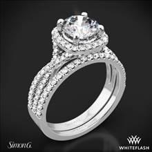18k White Gold Simon G. NR468 Passion Halo Diamond Wedding Set | Whiteflash