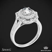 18k White Gold Simon G. NR525 Vintage Explorer Halo Diamond Engagement Ring | Whiteflash