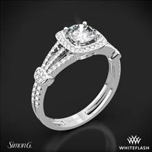 18k White Gold Simon G. TR418-D Delicate Halo Diamond Engagement Ring | Whiteflash