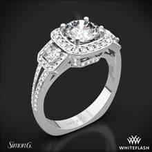 18k White Gold Simon G. TR446 Passion Halo Three Stone Engagement Ring | Whiteflash