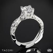 18k White Gold Tacori 2578RD Classic Crescent Twist Diamond Engagement Ring | Whiteflash