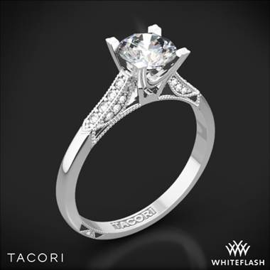 18k White Gold Tacori 2586RD Simply Tacori Pave Complete Diamond Engagement Ring with 0.50ct Diamond Center