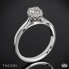 18k White Gold Tacori 2620RD Dantela Crown Complete Solitaire Engagement Ring with 0.50ct Diamond Center | Whiteflash