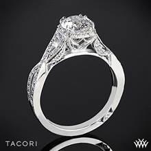 18k White Gold Tacori 2627RDSM Dantela Ribbon Diamond Engagement Ring | Whiteflash