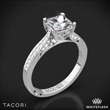 18k White Gold Tacori 2638PRP Dantela Crescent Motif Pave for Princess Diamond Engagement Ring | Whiteflash