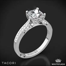 18k White Gold Tacori 2638PRP Dantela Crescent Motif Pave for Princess Diamond Engagement Ring   Whiteflash