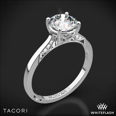 18k White Gold Tacori 2638RD Dantela Crescent Motif Solitaire Engagement Ring