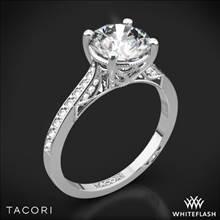 18k White Gold Tacori 2638RD P Dantela Crescent Motif Pave Diamond Engagement Ring for 1ct Center | Whiteflash