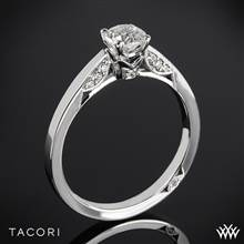 18k White Gold Tacori 3002 Simply Tacori Crescent Complete Solitaire Engagement Ring with 0.50ct Diamond Center | Whiteflash