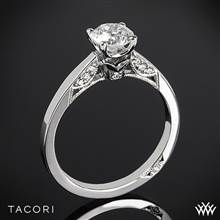 18k White Gold Tacori 3002 Simply Tacori Crescent Complete Solitaire Engagement Ring with 0.75ct Diamond Center | Whiteflash