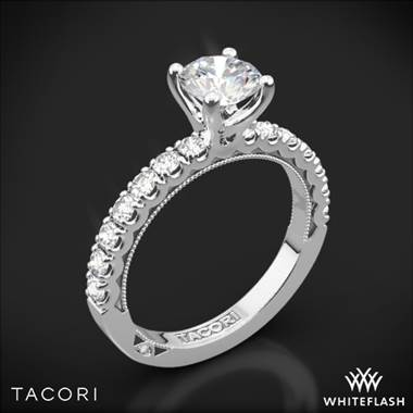 18k White Gold Tacori 33-2RD Clean Crescent Half Eternity Diamond Engagement Ring