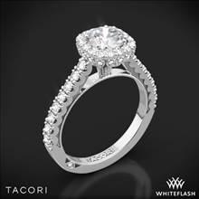 18k White Gold Tacori 37-2CU Full Bloom Cushion Halo Diamond Engagement Ring | Whiteflash