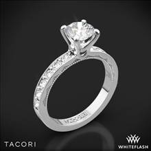 18k White Gold Tacori 41-3RD Sculpted Crescent Lace Diamond Engagement Ring | Whiteflash