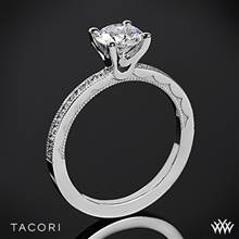 18k White Gold Tacori 44-1.5RD Sculpted Crescent Round Channel Diamond Engagement Ring | Whiteflash