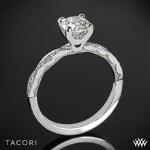 18k White Gold Tacori 46-2RD Sculpted Crescent Diamond Engagement Ring (0.75ct, I-SI, Center Diamond Included) | Whiteflash