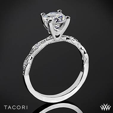 18k White Gold Tacori 46-2RD Sculpted Crescent Diamond Engagement Ring