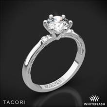 18k White Gold Tacori 56-2RD Sculpted Crescent Classic 3 Stone Engagement Ring | Whiteflash