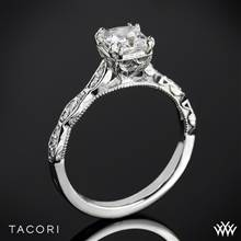 18k White Gold Tacori 57-2PR Sculpted Crescent Elevated Crown for Princess Diamond Engagement Ring | Whiteflash
