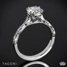 18k White Gold Tacori 57-2RD Sculpted Crescent Elevated Crown Diamond Engagement Ring | Whiteflash