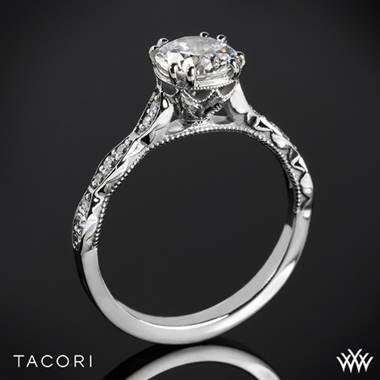 18k White Gold Tacori 57-2RD Sculpted Crescent Elevated Crown Diamond Engagement Ring