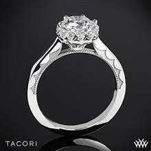 18k White Gold Tacori 59-2RD Sculpted Crescent Harmony Solitaire Engagement Ring for 1ct center | Whiteflash