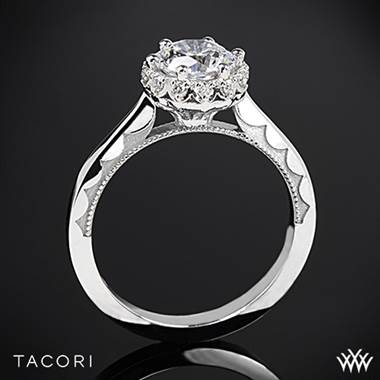 18k White Gold Tacori 59-2RD Sculpted Crescent Harmony Solitaire Engagement Ring for 1ct center