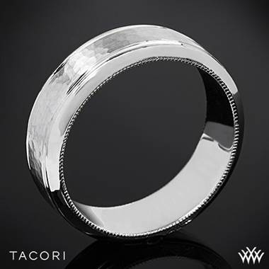 18k White Gold Tacori 71-7WH Sculpted Crescent Hammered Wedding Ring
