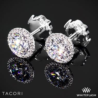 18k White Gold Tacori Fe 670 6 5 Diamond Earrings To Hold 2ctw Settings Only