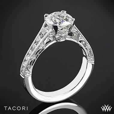 18k White Gold Tacori HT2510 Reverse Crescent Graduated Diamond Engagement Ring