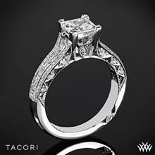 18k White Gold Tacori HT2513PR Classic Crescent Tapered for Princess Diamond Engagement Ring | Whiteflash