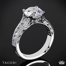 18k White Gold Tacori HT2513RD Classic Crescent Tapered Diamond Engagement Ring for 2.25ct Center   Whiteflash