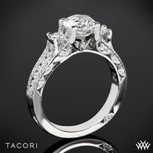 18k White Gold Tacori HT2514RD Classic Crescent Pave Three Stone Engagement Ring | Whiteflash