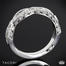 18k White Gold Tacori HT2528B Ribbon Half Eternity Diamond Wedding Ring | Whiteflash