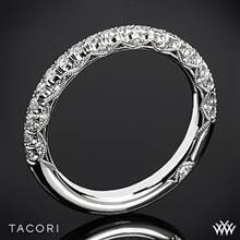18k White Gold Tacori HT2545B Petite Crescent Half Eternity Scalloped Millgrain Diamond Wedding Ring | Whiteflash