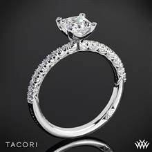 18k White Gold Tacori HT2545PR-1.5mm Petite Crescent Scalloped Millgrain for Princess Diamond Engagement Ring | Whiteflash