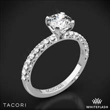 18k White Gold Tacori HT2545RD Petite Crescent Scalloped Millgrain Diamond Engagement Ring | Whiteflash