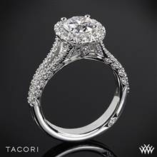 18k White Gold Tacori HT2548CU Petite Crescent Split Shank Halo Diamond Engagement Ring | Whiteflash