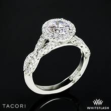 18k White Gold Tacori HT2549 Petite Crescent Twisted Diamond Halo Engagement Ring | Whiteflash
