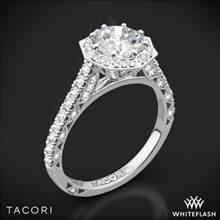 18k White Gold Tacori HT2555RD Petite Crescent Halo Diamond Engagement Ring | Whiteflash