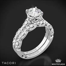 18k White Gold Tacori HT2558RD Petite Crescent Diamond Wedding Set | Whiteflash