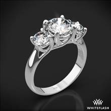 18k White Gold Trellis 3 Stone Engagement Ring (0.50ctw ACA side stones included) | Whiteflash