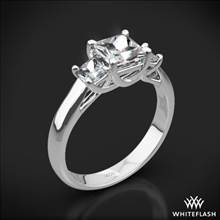 18k White Gold Trellis 3 Stone Engagement Ring for Princess (Setting Only) | Whiteflash