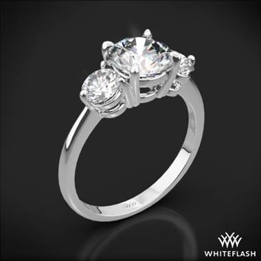 18k White Gold Trois Brilliant 3 Stone Engagement Ring (Setting Only)