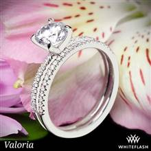 18k White Gold Valoria Micropave Diamond Wedding Set | Whiteflash