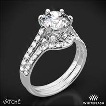 18k White Gold Vatche 1054 Swan French Pave Diamond Wedding Set | Whiteflash