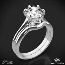 18k White Gold Vatche 191 Swan Solitaire Wedding Set | Whiteflash