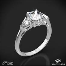 18k White Gold Vatche 310 Round and Pear Three Stone Engagement Ring for 1.00ct Center Diamond (0.50ctw pear side diamonds included) | Whiteflash