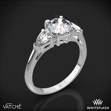 18k White Gold Vatche 310 Round and Pear Three Stone Engagement Ring for 1.50ct Center Diamond (0.50ctw pear side diamonds included)