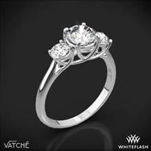 18k White Gold Vatche 319 X-Prong Three Stone Engagement Ring with 2 Round Brilliant Diamonds (0.50ctw G/VS) | Whiteflash