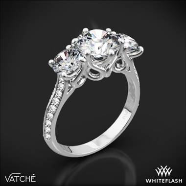 18k White Gold Vatche 324 Swan Three Stone Engagement Ring (Setting Only)